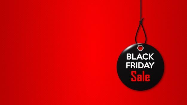 ブラックフライデー。ロープの黒いタグ。特別休日割引のプロモーションバナー。 Premiumベクター