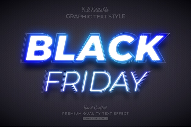Black friday blue neon editable text style effect Premium Vector