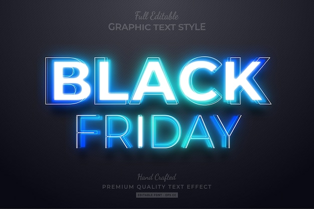 Black friday blue neon editable text style effect Premium Vector