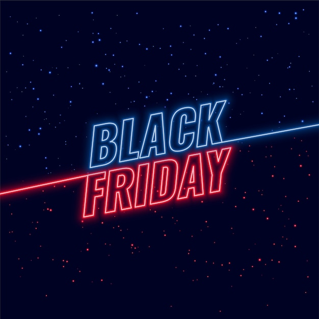 Black friday blue and red neon Free Vector