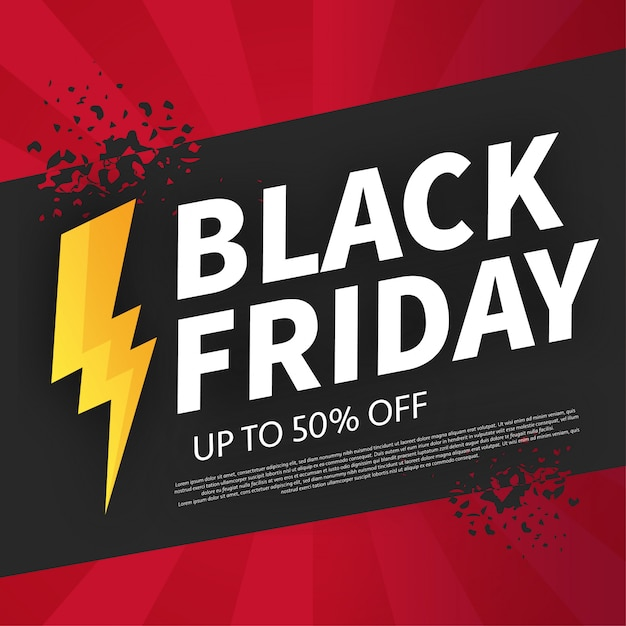 Black friday broken banner with flash offer Free Vector