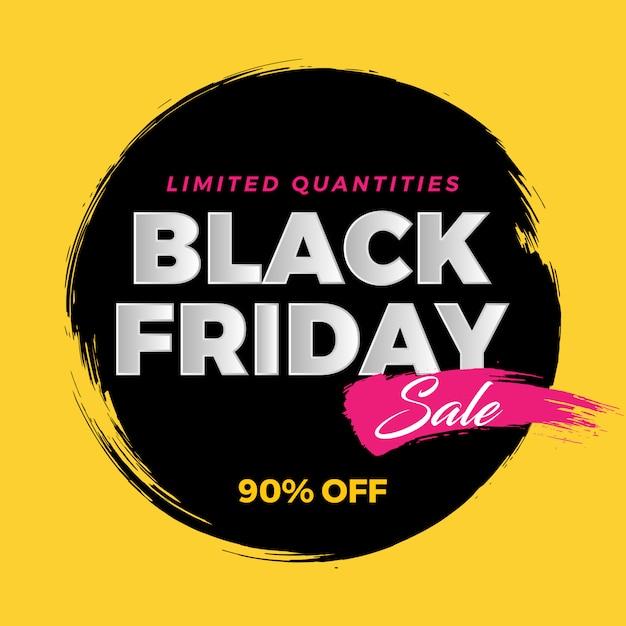 Black friday brush banner sale on yellow Premium Vector