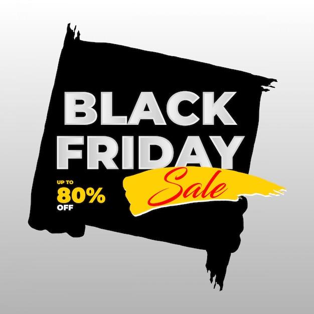 Black friday brush sale banner Premium Vector
