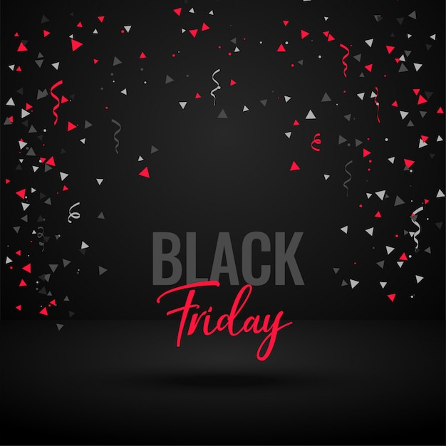 Black friday celebration banner with confetti Free Vector
