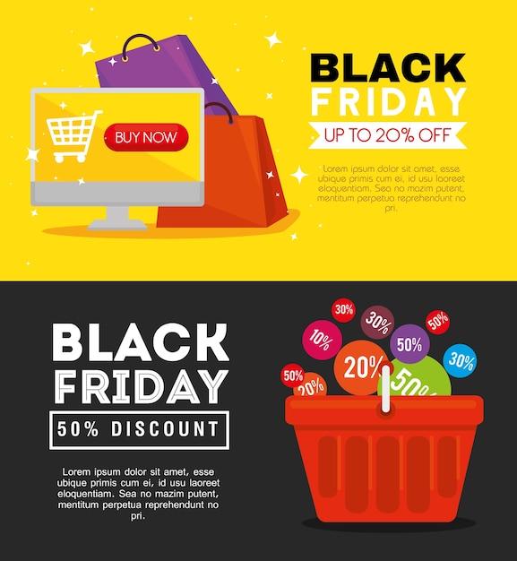 ブラックフライデーのコンピューターバッグとバスケットのデザイン、セールオファーの保存とショッピング Premiumベクター