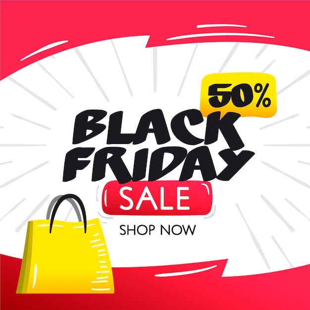 Black friday concept in hand drawn Free Vector
