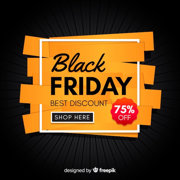 Black friday concept with flat design background Premium Vector
