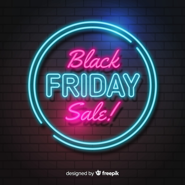 Black friday concept with neon background Free Vector