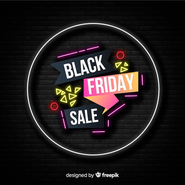 Black friday concept with neon design Free Vector