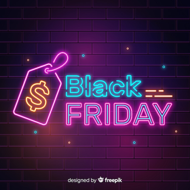 Black friday concept with neon sign Free Vector