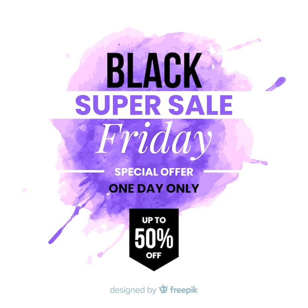 Black friday concept with watercolor background Free Vector