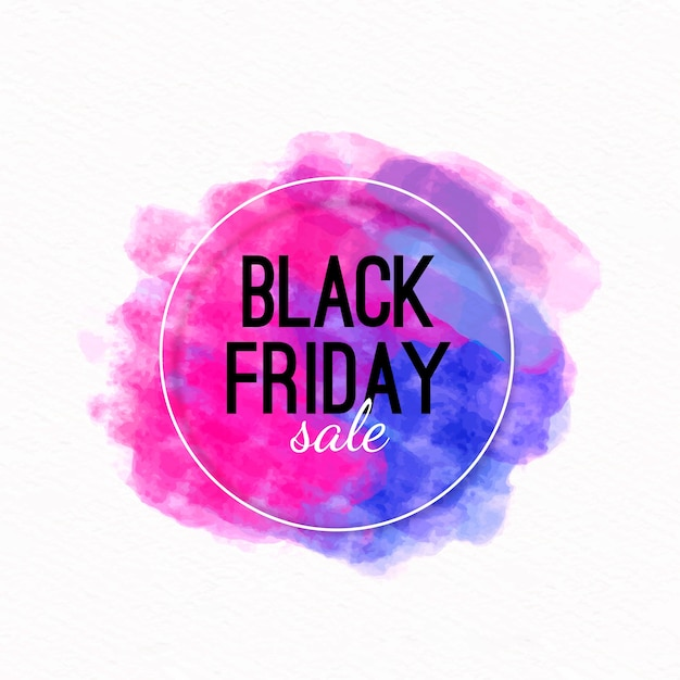 Black friday concept with watercolor stain Free Vector