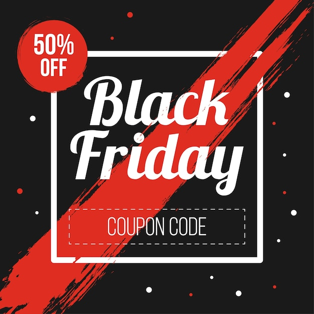 Premium Vector Black Friday Coupon Code Promotion Marketing Banner
