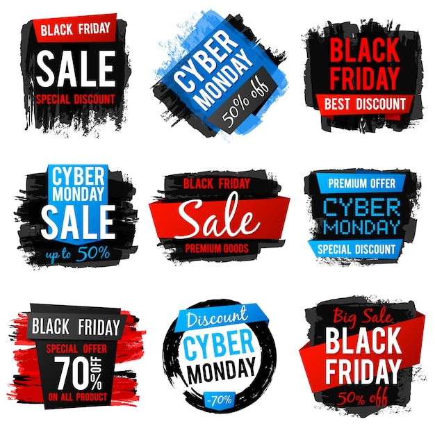 Black friday and cyber monday sale banner with big discount and best offers. price tags with grunge brush texture and frames. vector discount banner price collection illustration Premium Vector