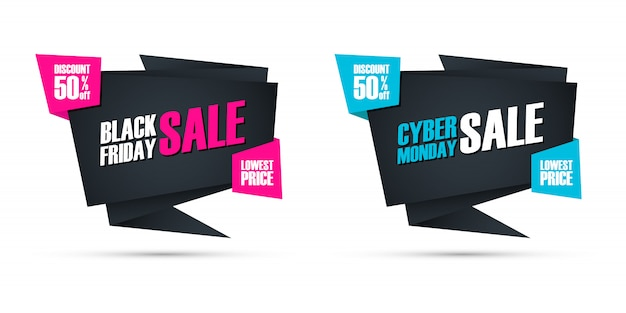 Black friday and cyber monday sale special offer commercial signs for business, promotion and advertising. discount up to 50% off. Premium Vector