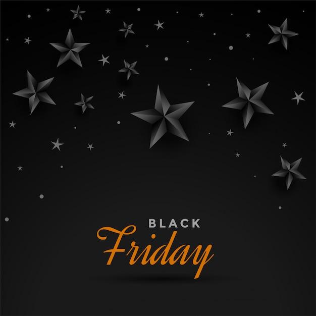 Black friday dark stars banner design template Free Vector