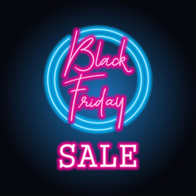 Black friday day sale with neon sign effect for black friday day event Premium Vector