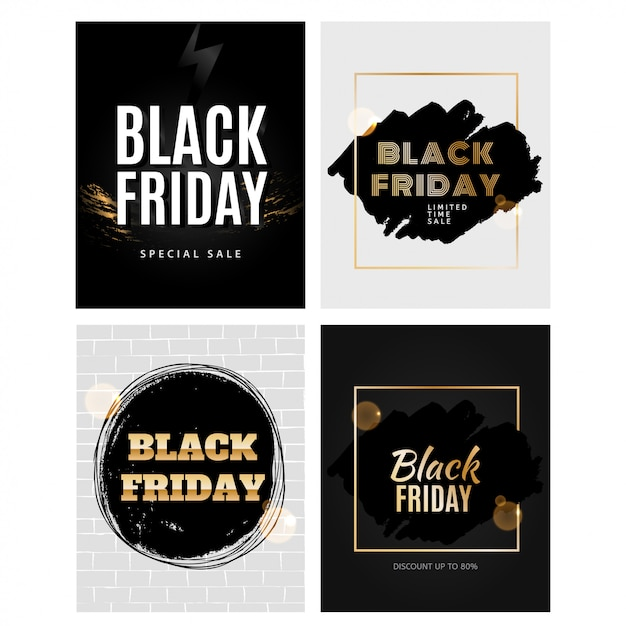 Black friday design template set Premium Vector