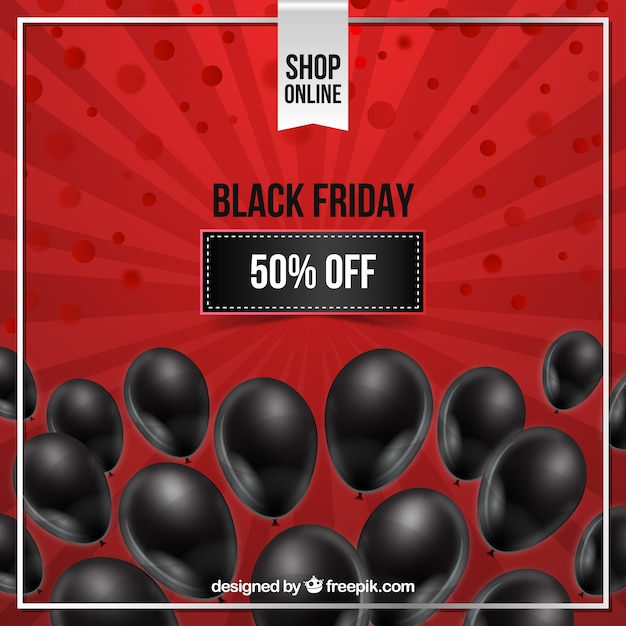 Black friday design with black balloons