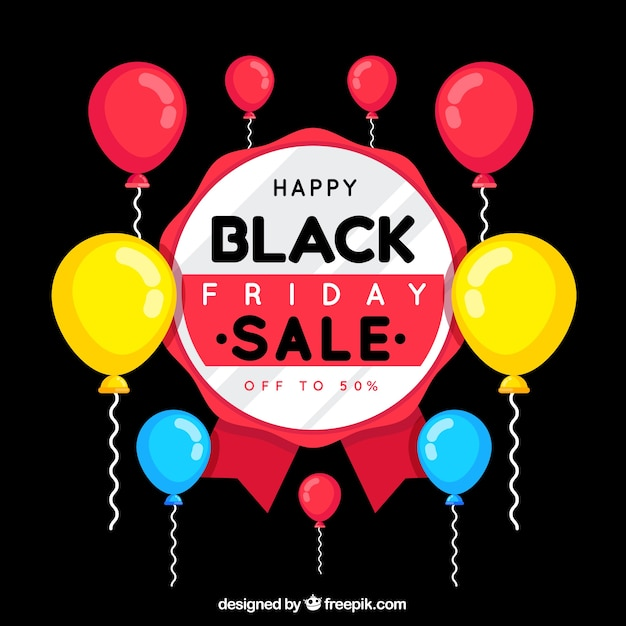 Black friday design with colorful balloons