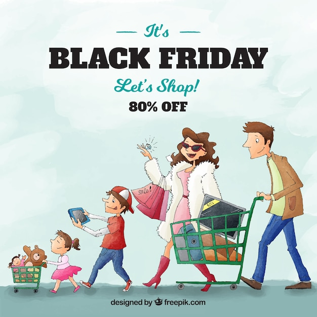 Black friday design with family Free Vector