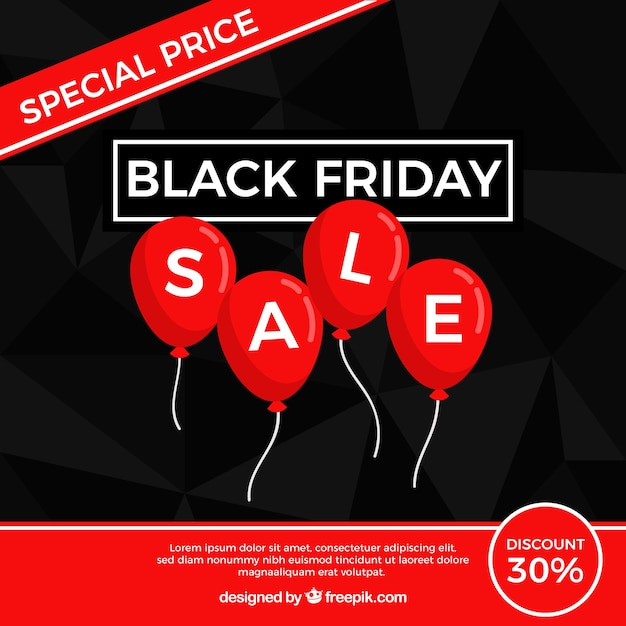 Black friday design with flat balloons Free Vector