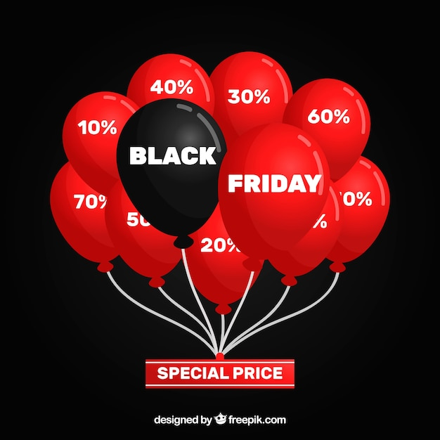 Black friday design with many red and one black balloons Free Vector