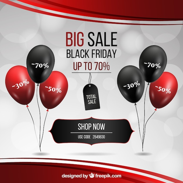 Black friday design with realistic balloons Free Vector