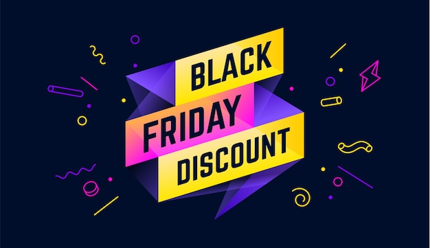 Black friday discount. 3d sale banner with text black friday discount for emotion, motivation. Premium Vector