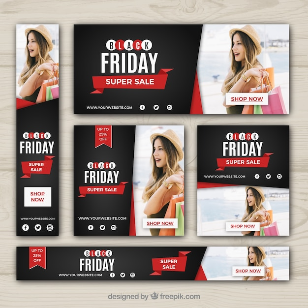 Black friday discount banners set Free Vector