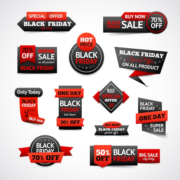 Black friday discounts set Free Vector