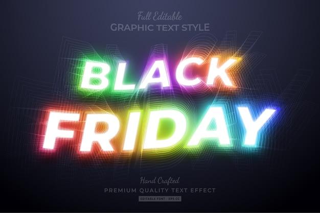 Black friday editable text style effect Premium Vector