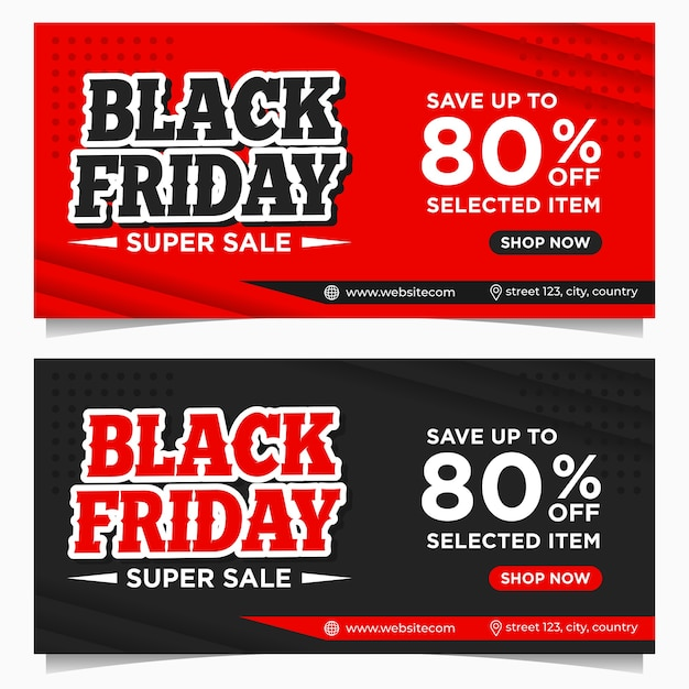 Premium Vector Black Friday Event Banners Background Template In Red And Black Color