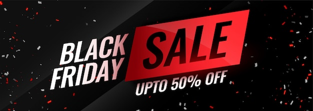 Black friday event sale with confetti Free Vector