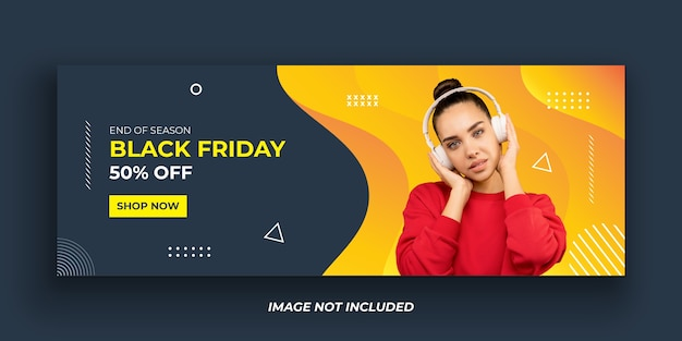 Black friday fashion facebook cover banner template Premium Vector