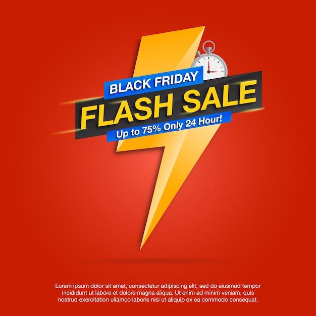 Black friday flash sale banner Premium Vector