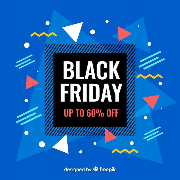 Black friday in flat design with memphis Free Vector