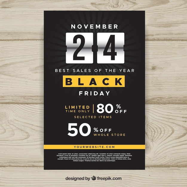 Black friday flyer con yellow elements Free Vector