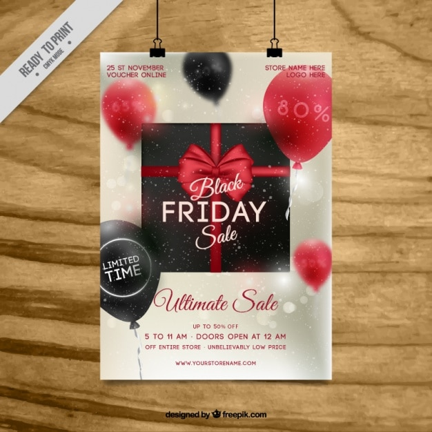 Black friday flyer template with balloons Free Vector