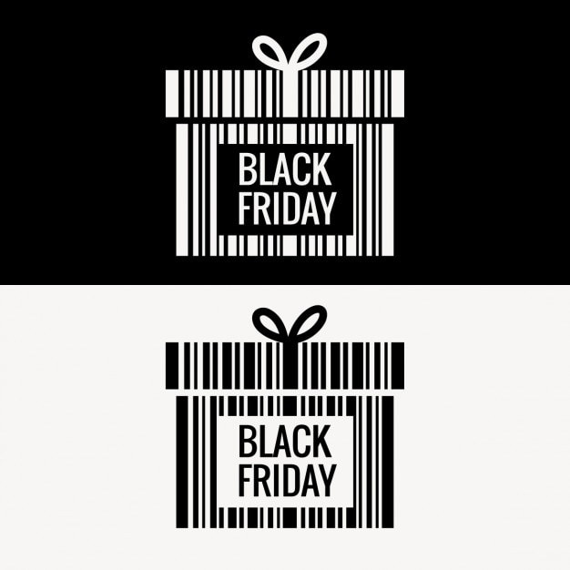 Black friday gift box made with barcode Free Vector