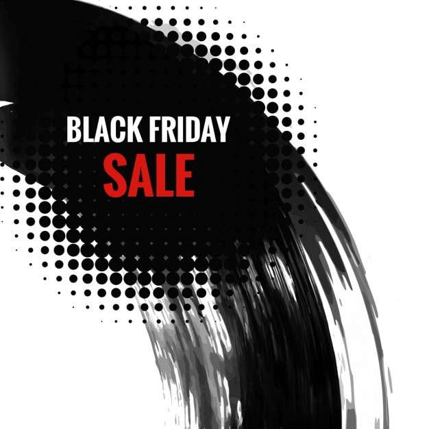 Black friday halftone and watercolor background Free Vector