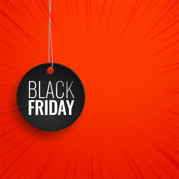 Black friday hanging tag on red background Free Vector