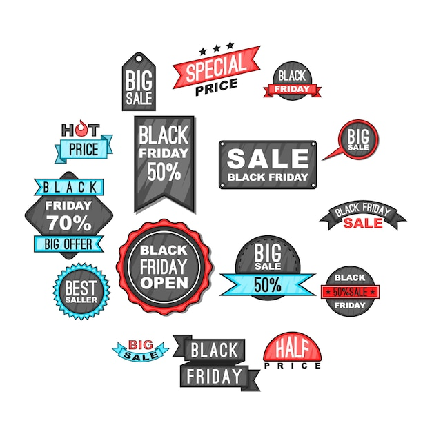 Black friday icons set, cartoon style Premium Vector