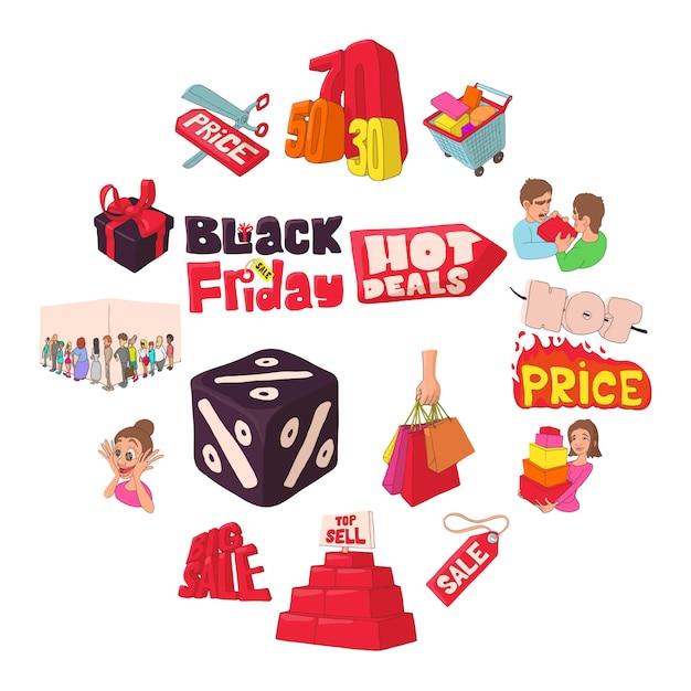 Black friday icons set, cartoon style. Premium Vector