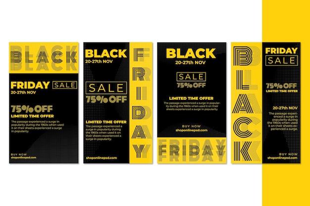Черная пятница ig post collection Premium векторы