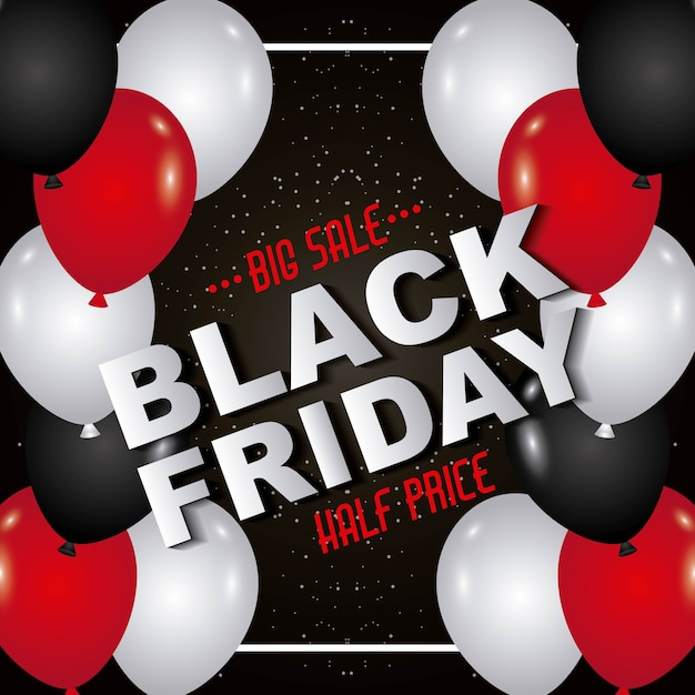 cf457ad22f3 Black friday inscription balloons marketing season offer Premium Vector