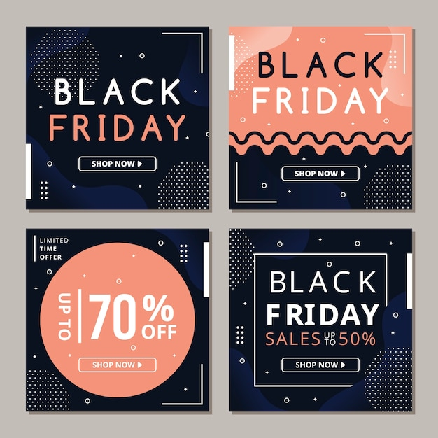 Black friday instagram post collection Premium Vector