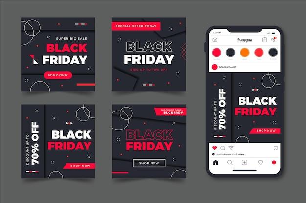 Черная пятница instagram посты в плоском дизайне Premium векторы