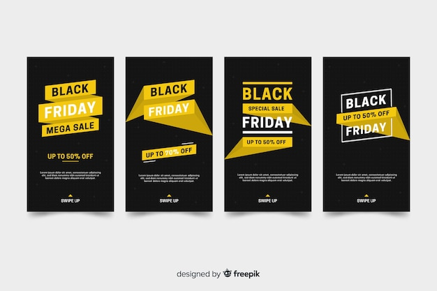 Black friday instagram stories collection with golden information Free Vector