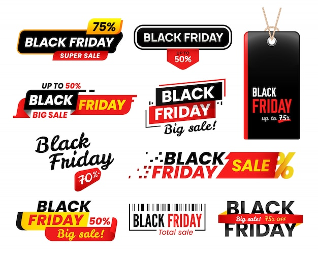 Black friday labels. sale sticker for thanksgiving fridays sales, shopping tags set Premium Vector